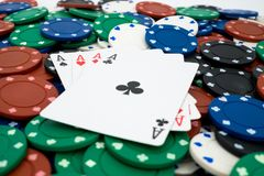 Pokerchips with cards Royalty Free Stock Photo
