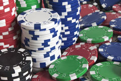 Pokerchips-closeup. Poker chips closeup - tower of white and blue royalty free stock photography