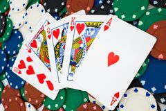 Pokerchips with cards Stock Image
