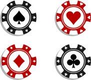 Pokerchips mit Kartensymbolen lizenzfreie abbildung