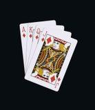 Pokerdiamanter av J Q K A som spelar kort Arkivfoto