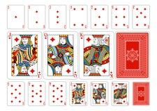 Pokerformatdiamant som spelar kort plus omvänt Arkivfoton
