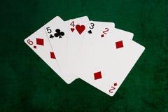 Pokerhände - gerade - sechs bis zwei Lizenzfreie Stockfotos