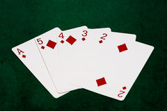 Pokerhänder - överdängare för rak spolning till två Royaltyfri Foto