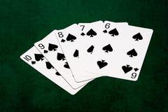 Pokerhänder - rak spolning tio till sex Royaltyfri Bild