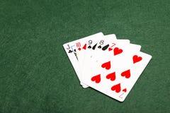 Pokerhänder - raksträcka Royaltyfri Foto