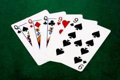 Pokerhänder - utsålt - drottningar och nio Arkivfoton