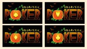 Pokerhalloween baner vektor illustrationer