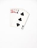 Pokerhandklassifizierung, Spielkarten des Symbolsatzes im Kasino: zwei Paare, Königin, sieben auf weißem Hintergrund, Glückzusamm Stockfotografie