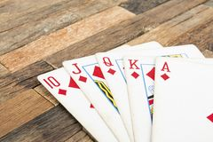 Pokerkarten, königlicher Blitz Lizenzfreies Stockfoto