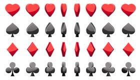 pokerkort för symboler 3D, rotation för vektoranimeringlek stock illustrationer