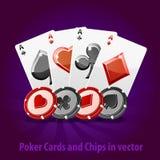 Pokerkort och chiper i vektor Arkivbild