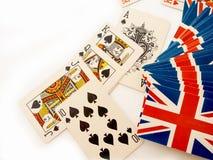Pokerkort på vit bakgrund Fotografering för Bildbyråer