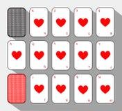 Pokerkort Ställ in hjärta vit bakgrund som lätt är skiljbar stock illustrationer