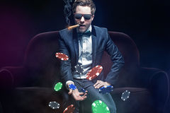 Pokerspieler Stockfotografie