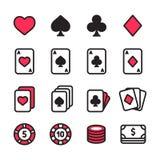 Pokersymbolsuppsättning royaltyfri illustrationer