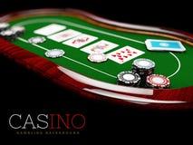 Pokertabellen med en kombination av en rak spolning och en kasino gå i flisor, illustrationen 3d stock illustrationer