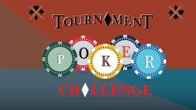 Pokerturneringräkning Utmana den modiga affischen, illustration av kasinochiper Dobblerisymboler vektor stock illustrationer
