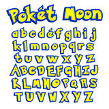 Poket Moon Font , Colorful Letters For Your Game Design Stock Vector