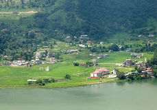 Pokhara city along Phewa lake Stock Images