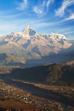Pokhara and the Himalayas at Dawn, Nepal Stock Photo