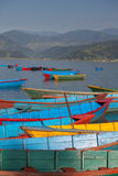 Pokhara lake with boats Royalty Free Stock Photo
