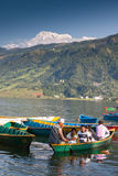 Pokhara lake with boats Stock Image