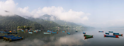 Pokhara lake in Nepal Royalty Free Stock Photos