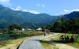 Pokhara Lake Walkway Stock Photo