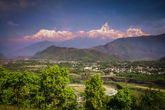 Pokhara and Machhapuchhre Royalty Free Stock Photos