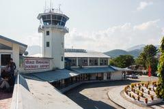 Pokhara airport, Nepal. POKHARA, NEPAL - CIRCA NOVEMBER 2017: Pokhara airport and its air traffic control tower Stock Photography