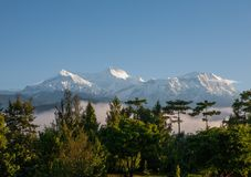 POKHARA, NEPAL:The Himalayas, North of Annapurna on the background of blue sky. royalty free stock photo