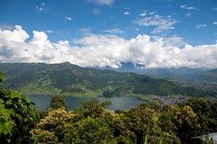 POKHARA, NEPAL, Himalayas. Top view of the Phewa lake. royalty free stock photography