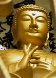 POKHARA, NEPAL, IL 20 MAGGIO: Oro Buddha dalla pagoda di pace di mondo Immagine Stock Libera da Diritti