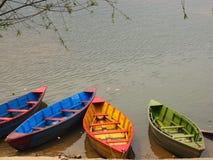 Pokhara nepal. Lake and boats the colors Royalty Free Stock Photo