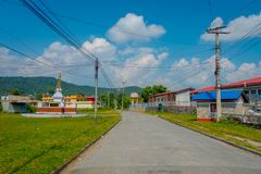 POKHARA, NEPAL - OCTOBER 06 2017: Outdoor view of different buildings with a pavement street, with some cables lines in. Pokhara, Nepal royalty free stock photo