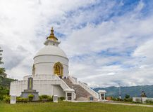 Shanti Stupa on a hilltop in Ananda hill in Pokhara Royalty Free Stock Image