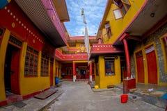 POKHARA NEPAL, PAŹDZIERNIK, - 06 2017: Salowy widok Tybetańska uchodźca ugoda w Nepal Obrazy Stock