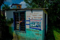 Pokhara, Nepal - September 12, 2017: Close up of ticket counter to visit the Seti river in Pokhara in Nepal, Asia.  Stock Image