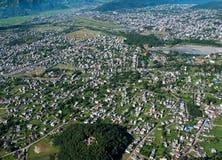 POKHARA, NEPAL. 28 September 2008: Shooting Pokhara from the height of bird flight. royalty free stock image