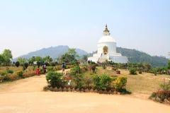 Pokhara Shanti Stupa, World Peace Pagoda in Nepal Royalty Free Stock Photo