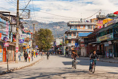 Pokhara street during national strike, Nepal Stock Photos