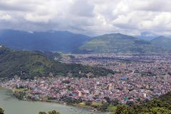 Pokhara town and Phewa Lake as seen on the way up to the World P stock images