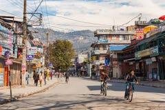 Pokharastraat tijdens nationale staking, Nepal Stock Foto's