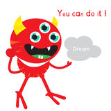 Pokka monster thumps up and holding dream with word you can do i Stock Photography