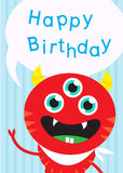 Pokka Red Monster three eyes with yellow horn smile and word hap Royalty Free Stock Photography