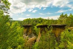 Poklicky sandsten vaggar, Kokorinsko, Machuv kraj, skyddat landskapområde, Tjeckien royaltyfri bild