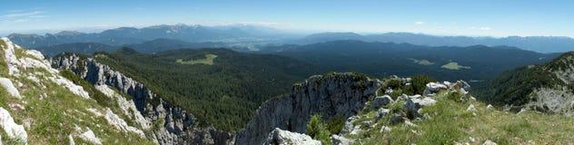 Pokljuka dal pendio di collina della montagna del PEC di Debela nel parco nazionale di Triglav in Julian Alps in Slovenia Fotografia Stock Libera da Diritti