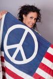 Pokojowa Patriotyczna Kobieta Zdjęcie Stock