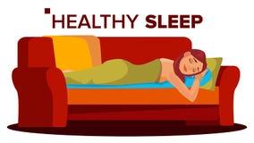 Pokojowo Spać kobieta wektor Odpoczywać w sypialni bezsenność Płaska kreskówki ilustracja ilustracja wektor